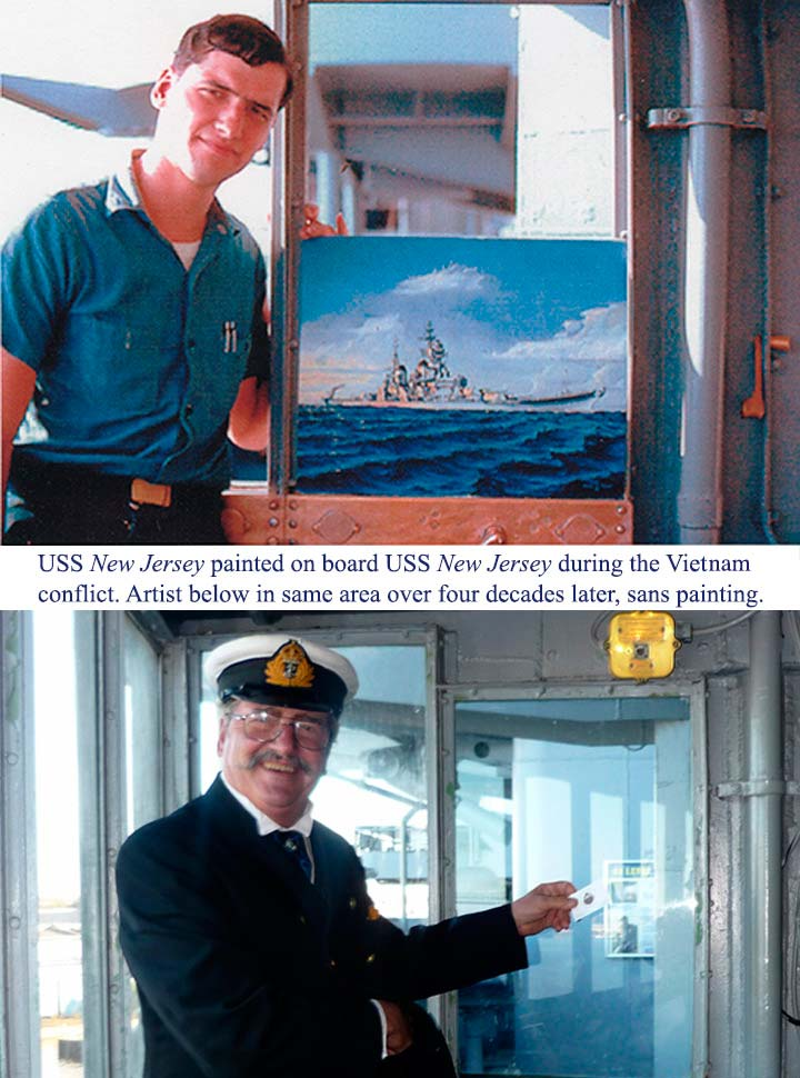 James A Flood on board with his painting of USS New Jersey 1968