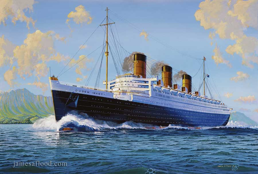 Queen Mary Sea Trials Arran Mile Painting II - Queen of the seas cruise ship