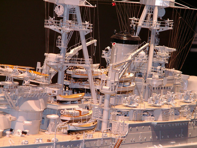 Scratch built ship model of USS Oklahoma, scale 1/96