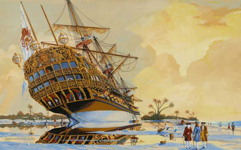 Flagship of Treasure Fleet Beached, 1715