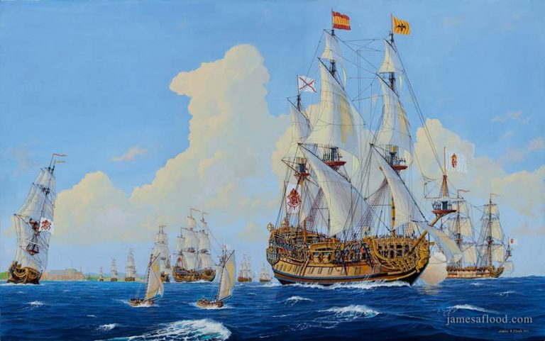 Painting of 1715 Spanish Treasure Fleet
