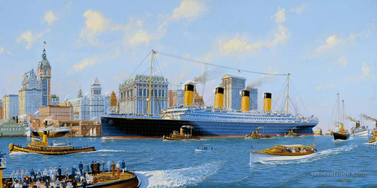 Fictional painting of Titanic passing lower Manhattan