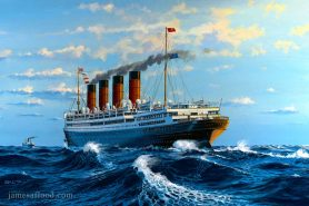 Painting of RMS Aquitania in 1924