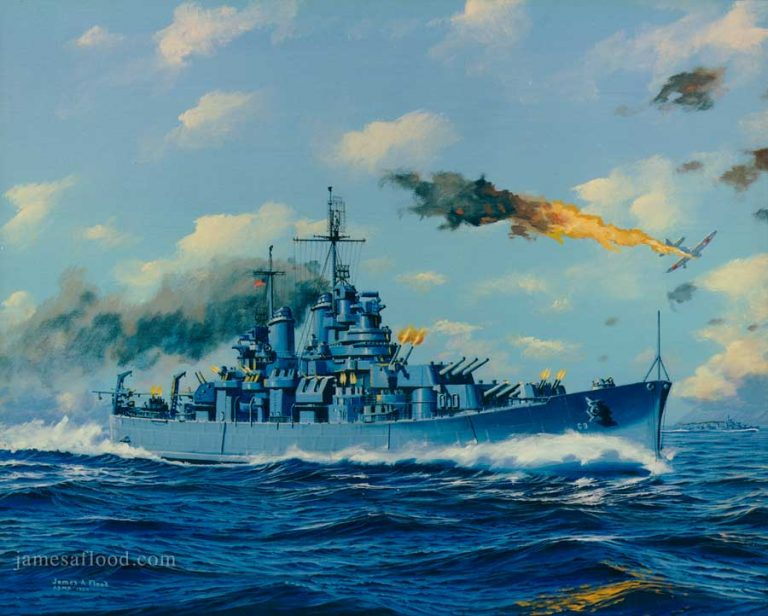 Painting of nuclear sub USS Boston CA-69