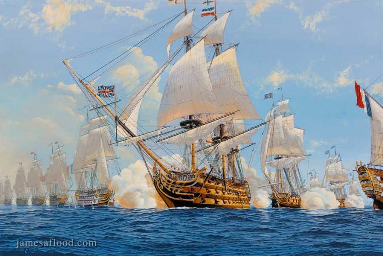 Painting of HMS Victory in Battle