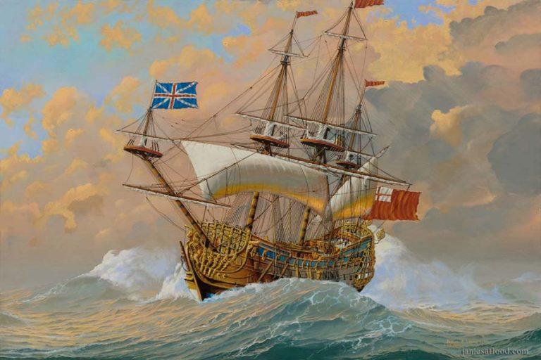 HMS Britannia in a Gale: Restored