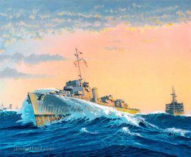 USS Doherty protecting an Allied Convoy