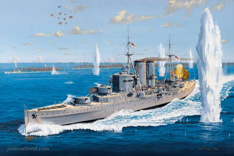 Painting of Last Battle of HMS Exeter