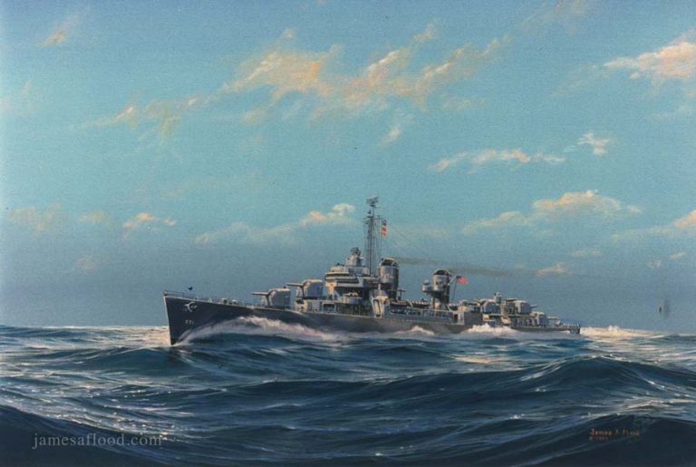 Painting of WWII USS Hazelwood