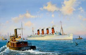 RMS Mauretania in New York Harbor