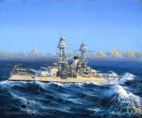 Painting USS Nevada at sea in the 1930s