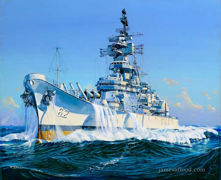 USS New Jersey battleship painting heading for the gun line