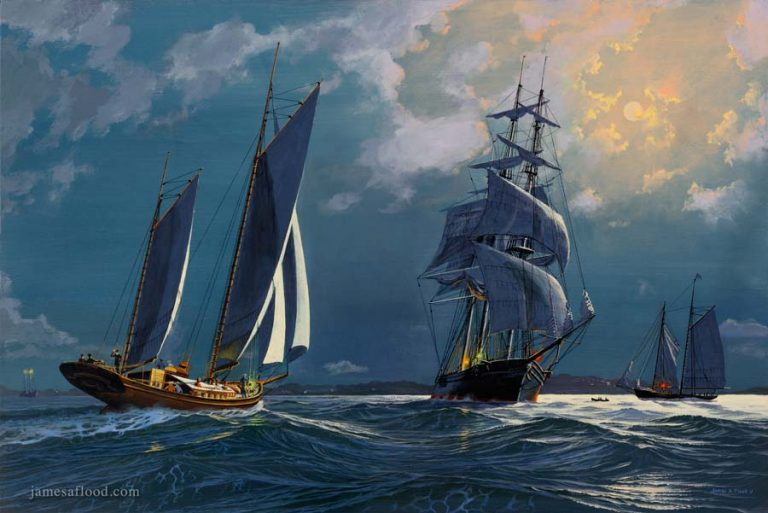 Painting of moonlight shipping in 1800s