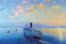RMS Queen Elizabeth 2 Entering New York Harbor