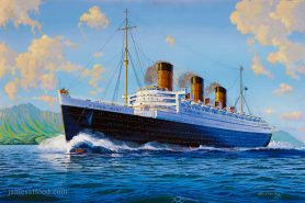 RMS Queen Mary off the coast of Arran.