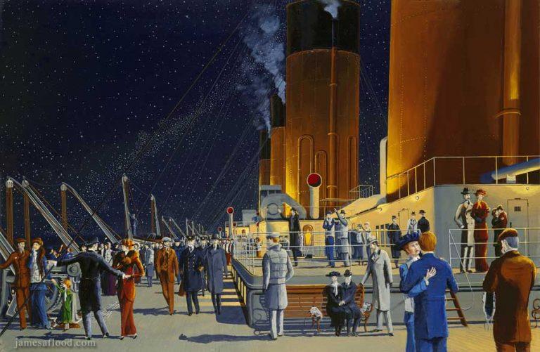 Painting of RMS Titanic Deck Scene.