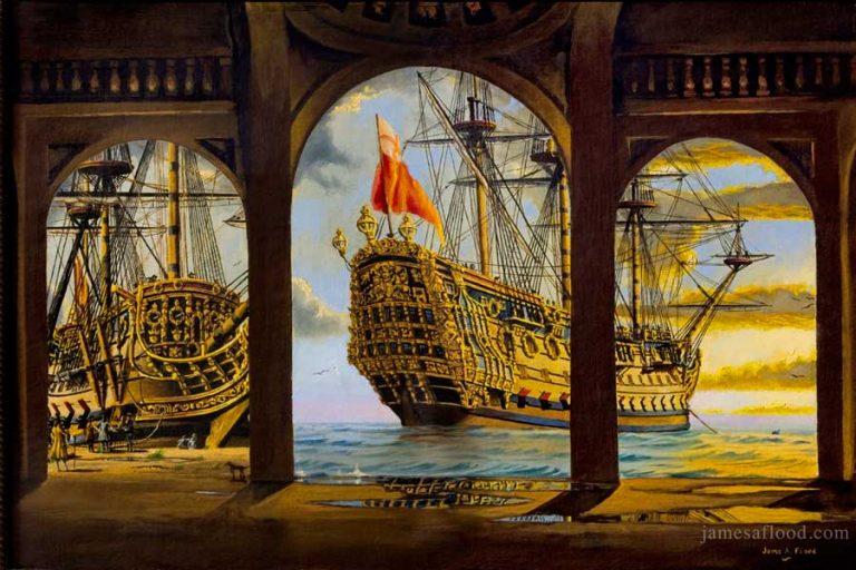 HMS Prince from Mediterranean dock 1600s.