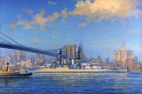 USS Virginia departing Brooklyn Navy Yard.