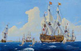 Painting of 1715 Spanish Treasure Fleet