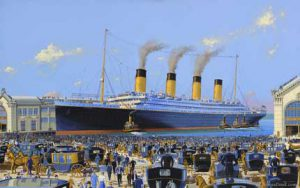 Fictional painting of Titanic Chelsea Piers