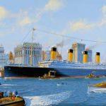 Fictional painting of Titanic passing lower Manhattan