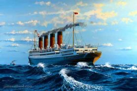 Painting of RMS Aquitania in 1924.
