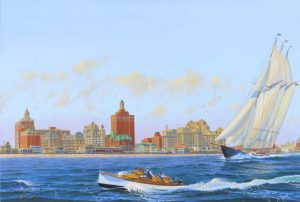 Painting of Atlantic City Skyline, 1930s