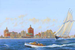 Painting of Atlantic City Skyline, 1930s
