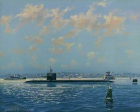 Painting of nuclear sub USS Boston SSN-703