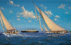 HMY Britannia racing off Cowes around 1912