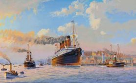 RMS Mauretania Departing the Tyne