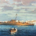 Painting of WWII warship USS Doherty