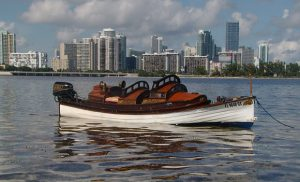 Launch in Biscayne Bay with Miami Skyline