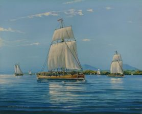 USS Boston in Lake Champlain, 1776
