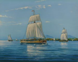 USS Boston in Lake Champlain, 1776