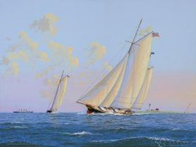 Painting of Yachts Sailing off Great Point