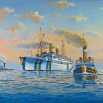 Painting of MS Gripsholm Entering Port