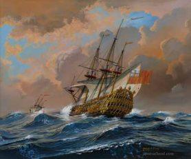 HMS Hampton Court in a Gale