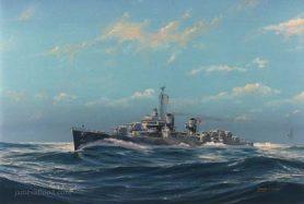 Painting of WWII USS Hazelwood