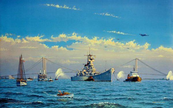 USS New Jersey Homecoming Art Print