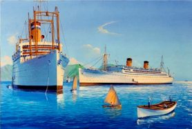 Liner SS Lurline and USS Hunter Liggett