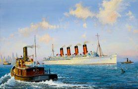RMS Mauretania in NYH Art Print