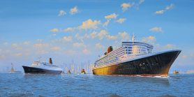 QE2 and QM2 Meet in NYH Art Print