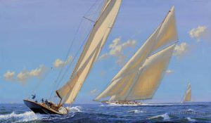 Painting of great yachts competing