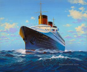 SS Normandie Bow View Art Print