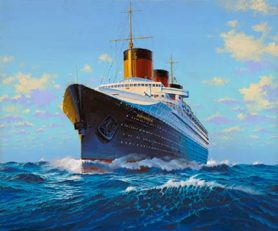 Bow view painting of SS Normandie.