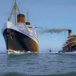RMS Queen Elizabeth departing NYH