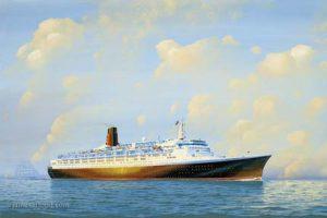 RMS QE2 near the coast of England