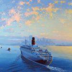 Queen Elizabeth 2 entering New York Harbor