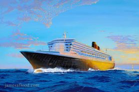 Queen Mary 2 Maiden Sunrise Art Print